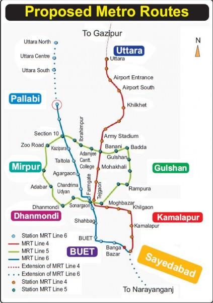 Metro Dhaka Linienplan