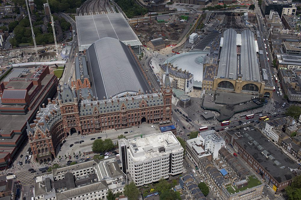 Umgebauter Bahnhof King's Cross und St Pancras Luftbild