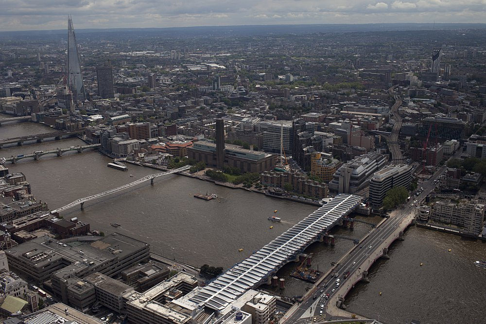 Luftbild vom Umbau des Bahnhofs Blackfriars
