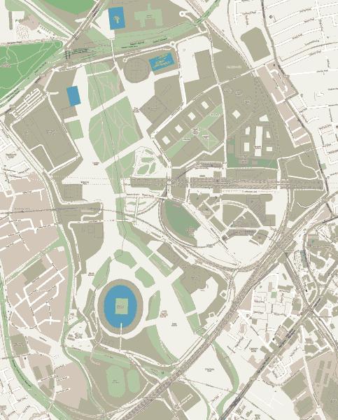 Karte des Olympiaparks in London mit Olympiastadion und der Verkehrsanbindung