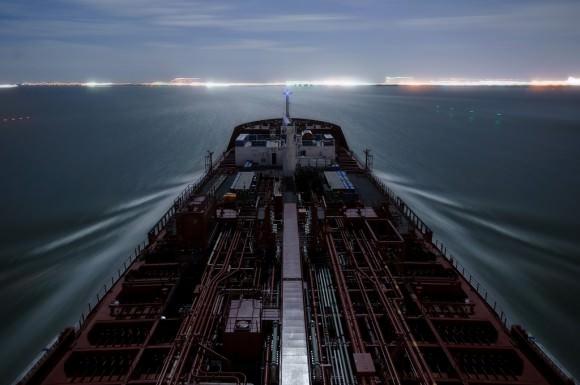 Schiff am Eingang des Houston Ship Channel