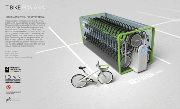 Bikesharingstation Jung Tak Designstudie T-Bike