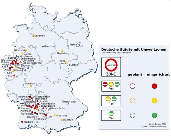 Umweltzonen Deutschland Städte 2012 Karte