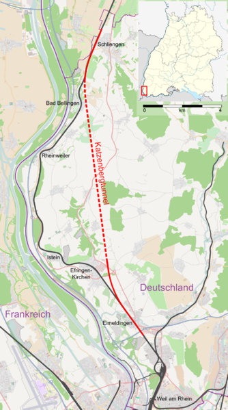 Karte Katzenbergtunnel Bahn