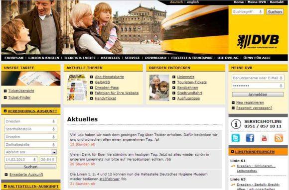 Webseite der Dresdner Verlkehrsbetriebe