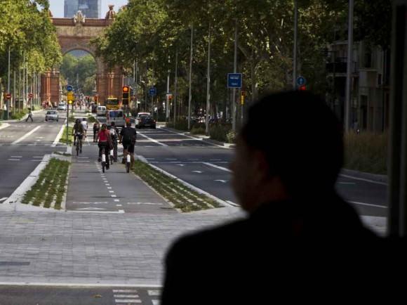Radweg Barcelona in Mittellage