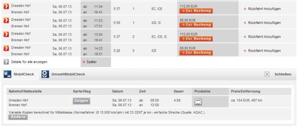 Kostenrechner Deutsche Bahn