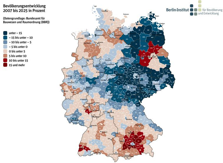 Demografische Entwicklung in Deutschland Bevölkerungswachstum Bevölkerungsrückgang wo