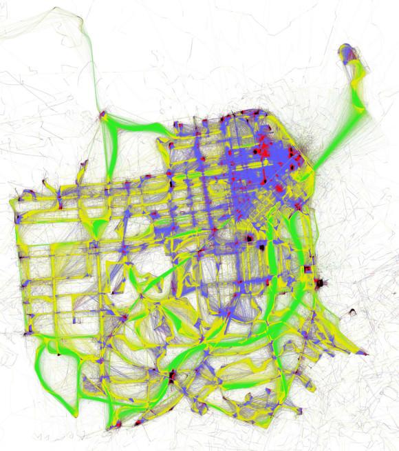 Visualisierung ÖPNV San Francisco Geschwindigkeiten