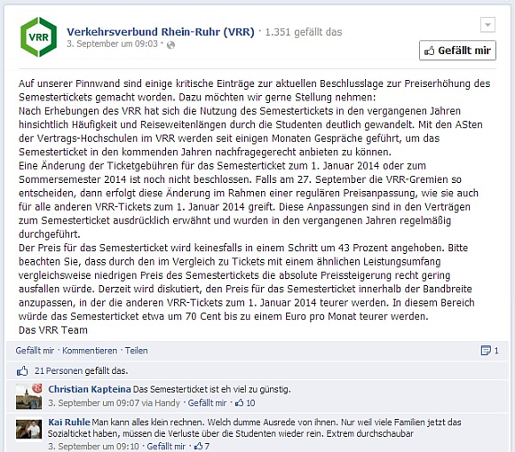 VRR Statement Semesterticket Preis