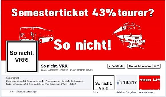 So nicht VRR Facebook-Seite