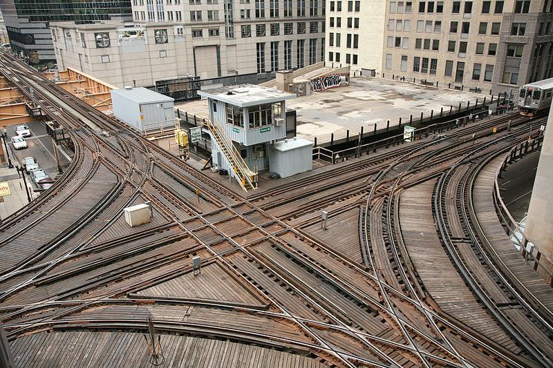 Chicago Streckenkreuzung Hochbahn The L