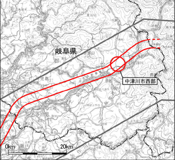 Nakatsugawa Chuo Shinkansen Station Präfektur Gifu