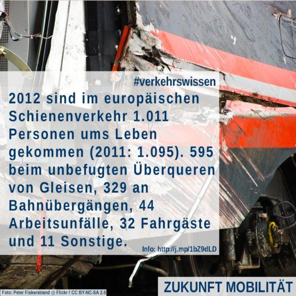 Todesfälle Eisenbahn Schienenverkehr Europa 2012 UIC Zugunglück