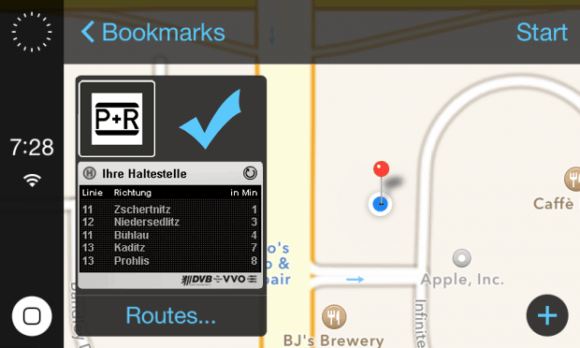 iOS in the car Screenshot mit ÖPNV und Park and Ride Dresden