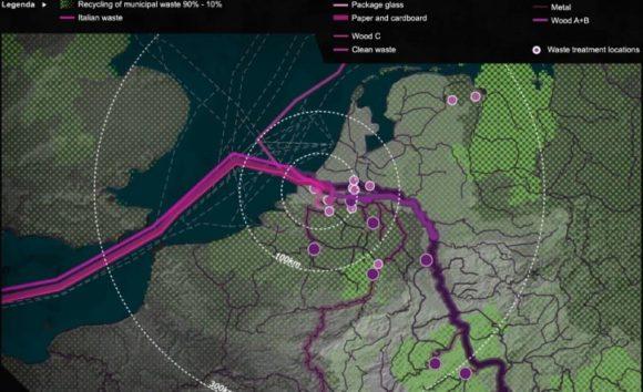 Abfälle zum Recycling in Rotterdam Visualisierung des Stroms