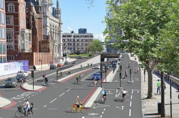 TfL London Radschnellweg separierter Radweg