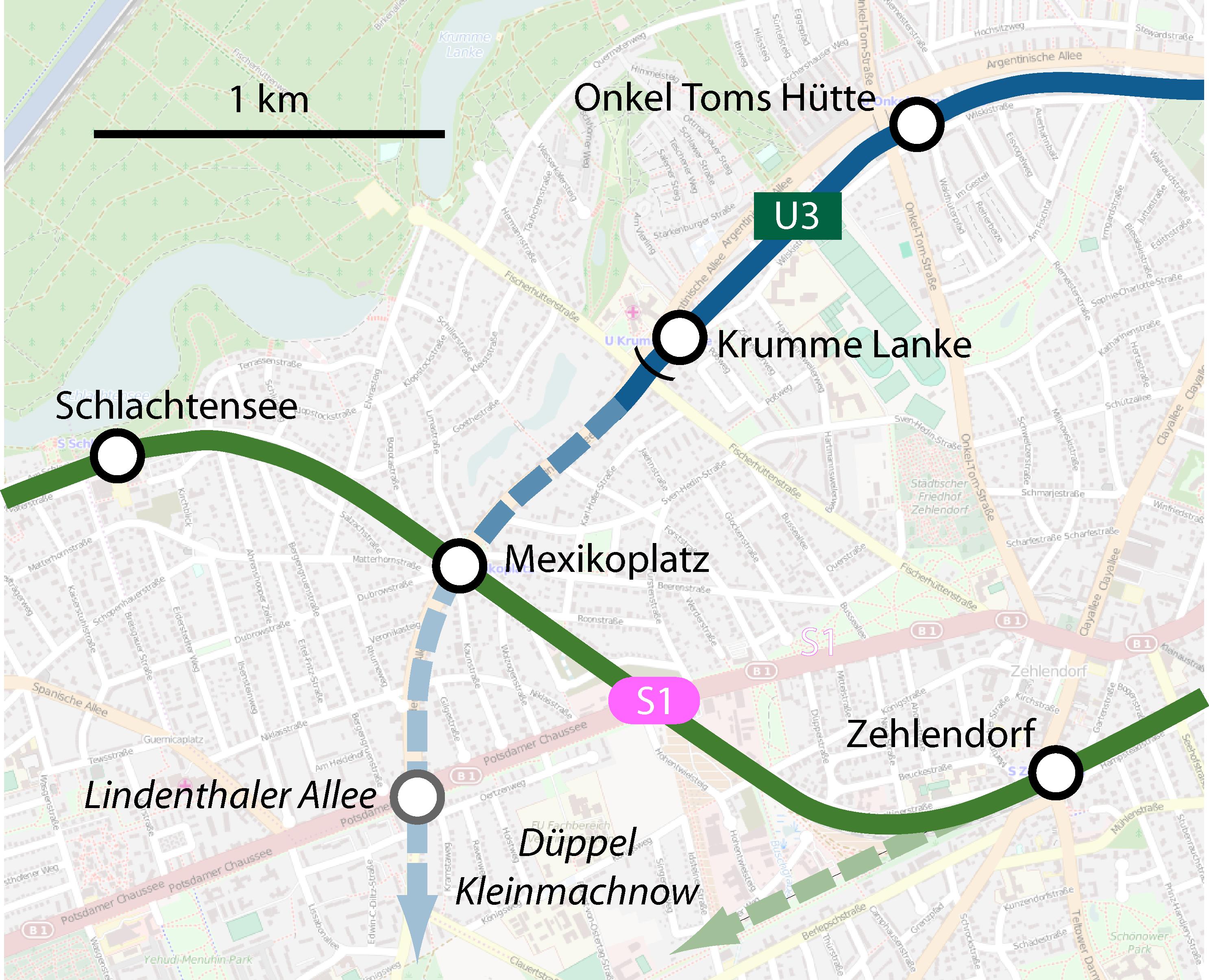 Ausbauoptionen Berlin Schienenverkehr Zehlendorf Steglitz S-Bahn U-Bahn