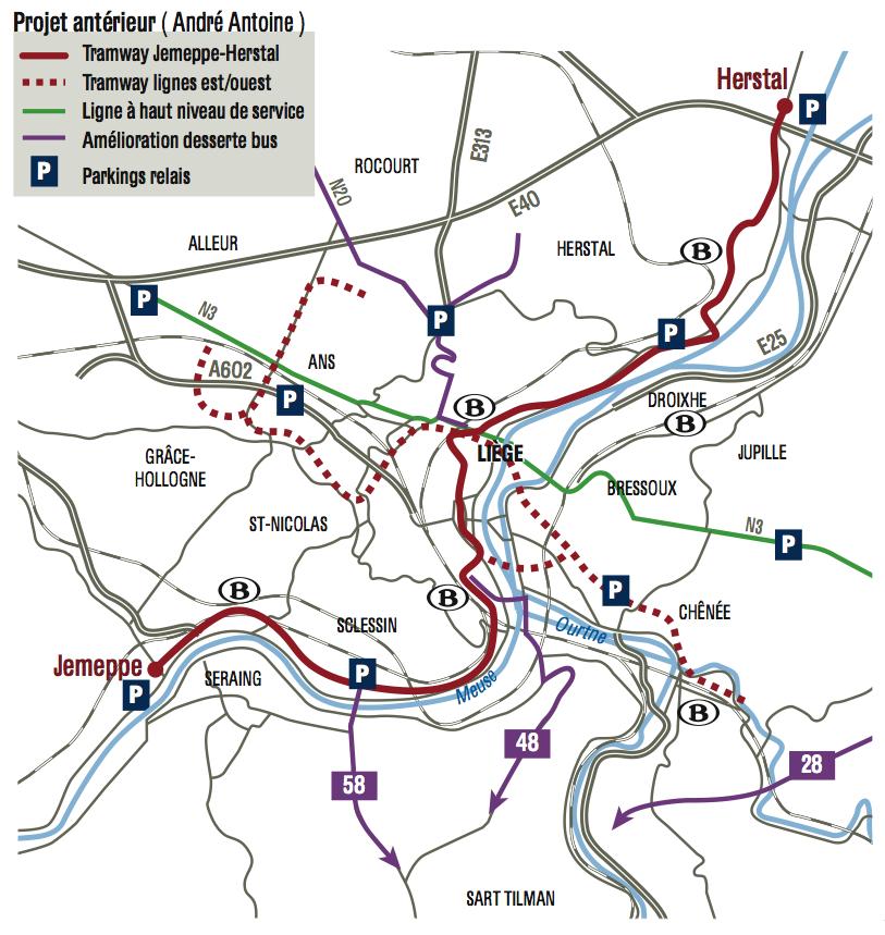 Straßenbahn Lüttich Liege Netz