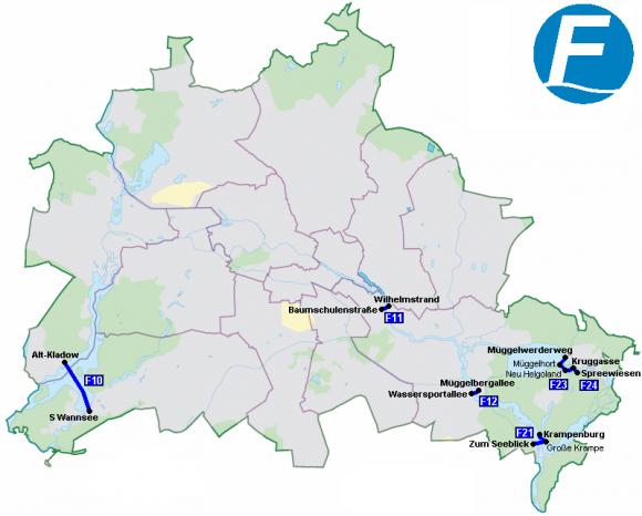 Fährlinien in Berlin der VBG