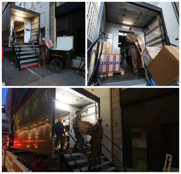 Kombination aus Lastenrad und Container in Hamburg von UPS