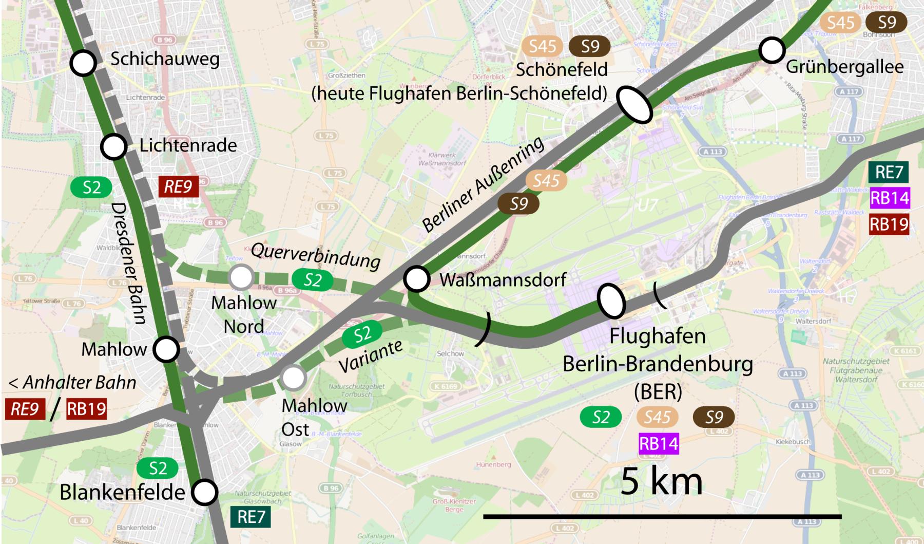 S-Bahn-Querverbindung von Lichtenrade zum BER  – ein Vorschlag zur Verbesserung der Verkehrsanbindung des neuen Flughafens Berlin-Brandenburg