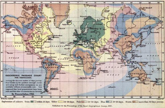 Isochronen Reisezeiten 1881 London