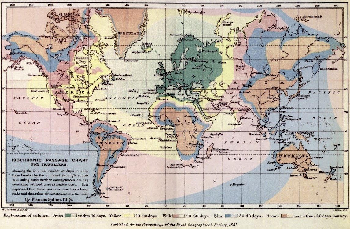 Immer schneller und weiter: Reisezeiten im Jahr 1881, 1914 und 2016