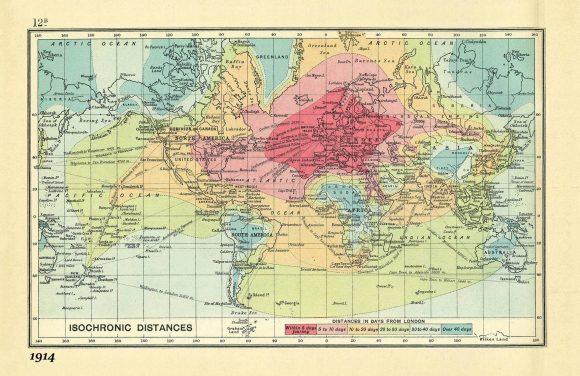 Isochronen Erreichbarkeitskarte London 1914