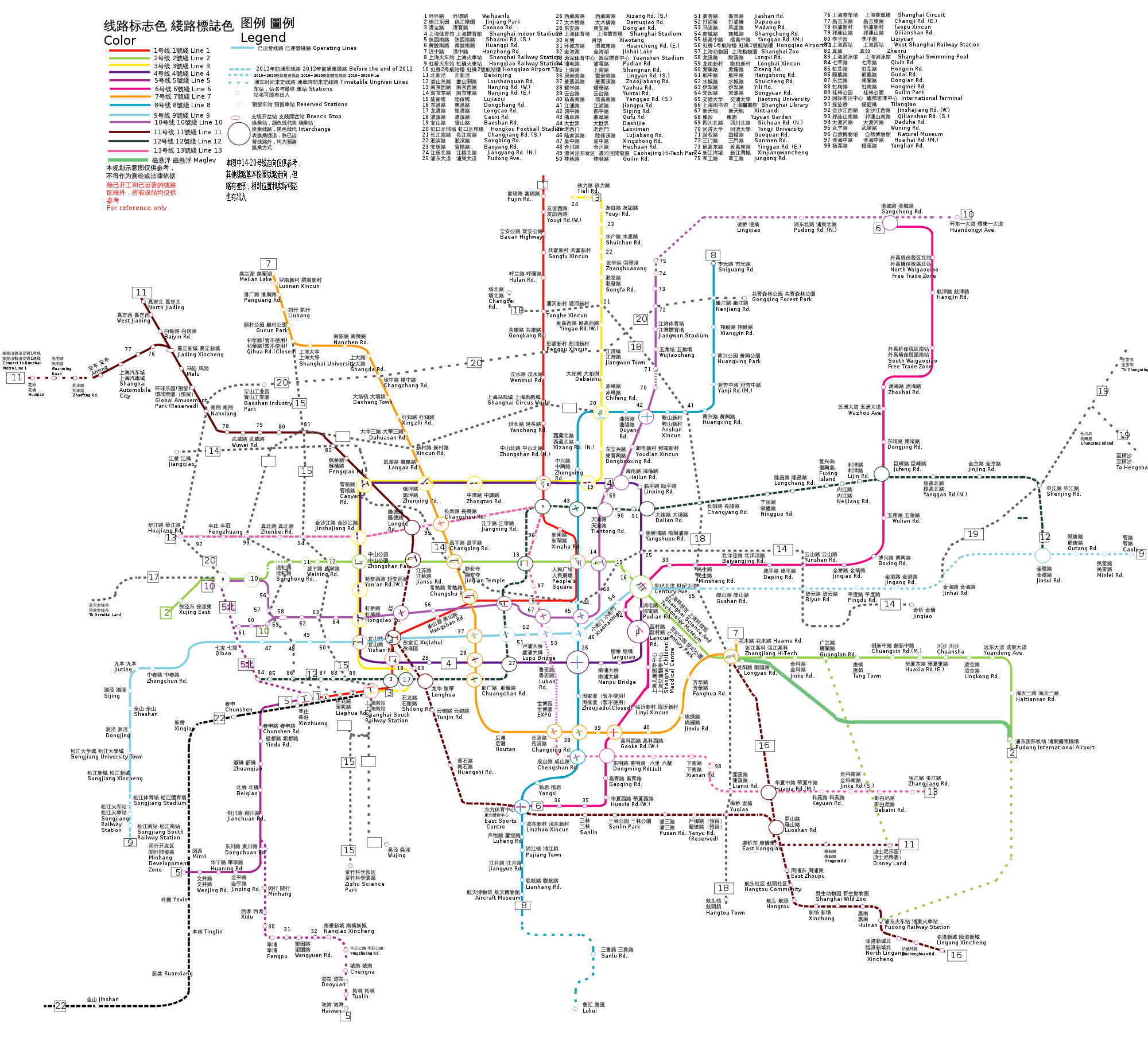 Ausbau der Metro Shanghai bis 2020