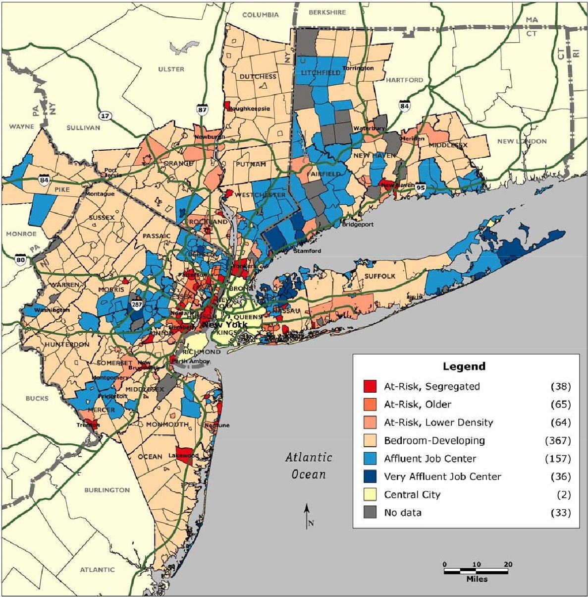 New York Entwicklung Gemeinden zustand kategorie suburbs