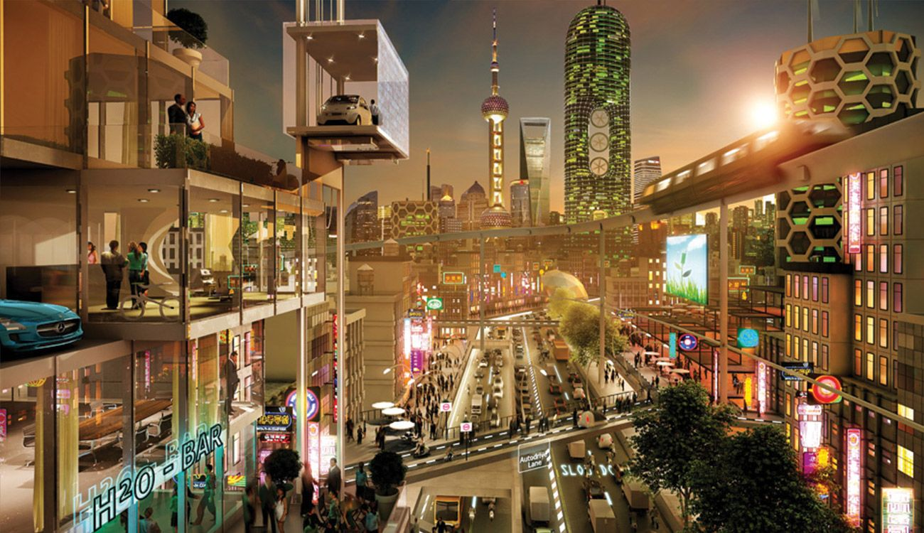 Zukunft 2030 Stadt Asien Mercedes-Benz