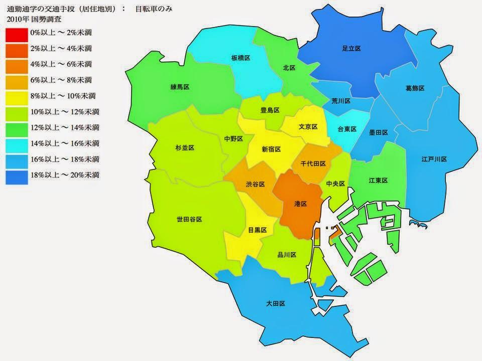 Tokio Radverkehrsanteil Verkehrsaufkommen Modal Split Tokyo Japan Fahrrad