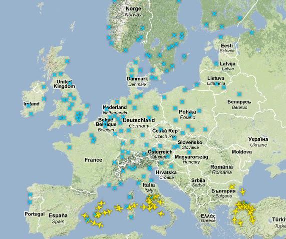 Luftraum über Europa während des Vulkanausbruchs des Eyjafjallajökull im April 2010