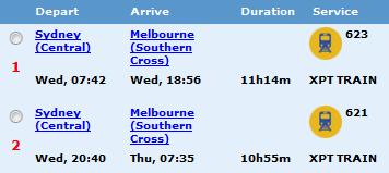 Sydney Melbourne Fahrtzeit Zug