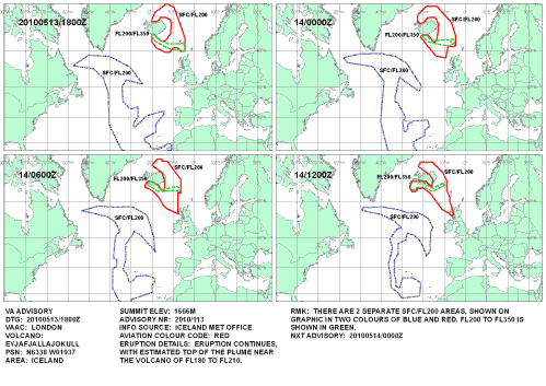 Vulkanasche Atlantik 13. Mai