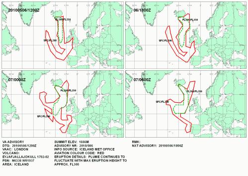 Vulkanasche Europa Aschewolke 6. Mai