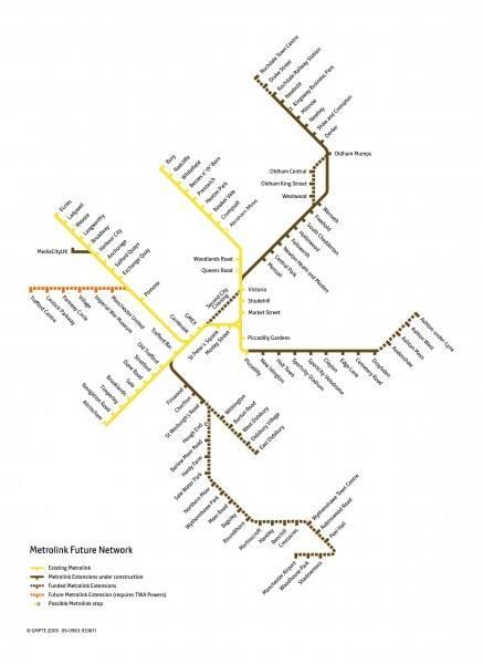 Metrolink Manchester Netzausbau Plan Netzplan Ausbaupläne
