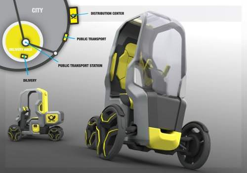 Follow Me Konzeptstudie TU Berlin innerstädtischer Transport Elektromobil Module