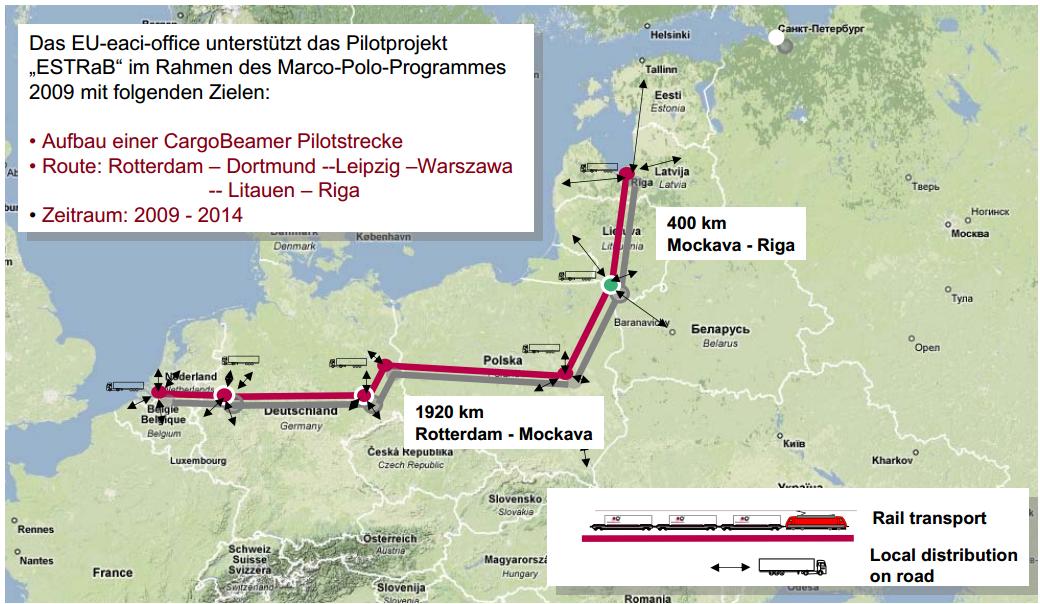 Route des Cargobeamer Verkehrs Rotterdam - Mockava - Riga ESTRaB