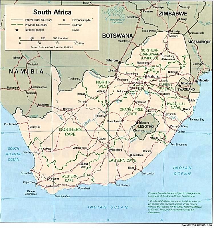 Schienennetz Südafrika 1995