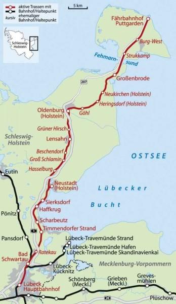 Bahnkarte Karte Bahnstrecke Lübeck-Puttgarden Fehmarnbeltquerung Hinterlandanbindung