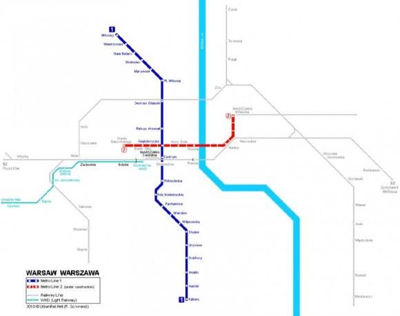 U-Bahnnetz Warschau Netzkarte Linie 1 und Linie 2, die im Bau ist.