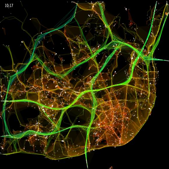 Lissabon Visualierung des Verkehrs durch Pedro Cruz