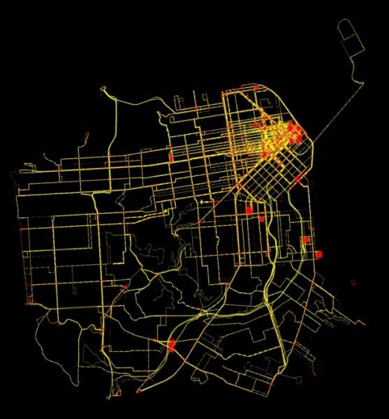 Busse Muni in San Francisco - Visualisierung des Verkehrsflusses - Rot = stehen, gelb in Bewegung