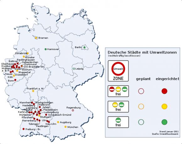 Umweltzonen in deutschen Städten Stand Januar 2011