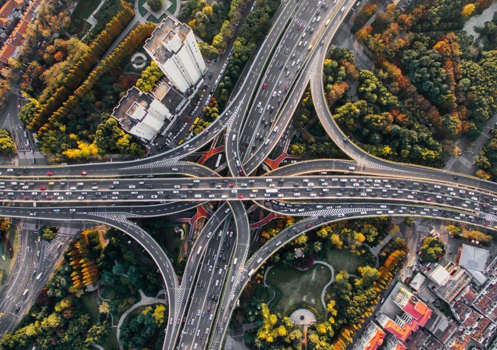 Stau Luftbild Pkw Stauerscheinung oben