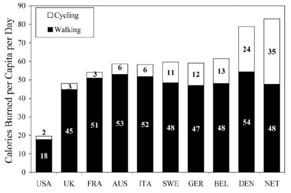 Kalorienverbrauch USA Europa Radfahren Fußweg Pendeln