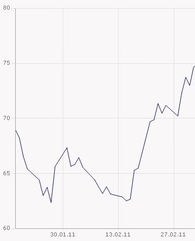 Ölpreis in Euro Barrel WTI in Euro Februar 2011