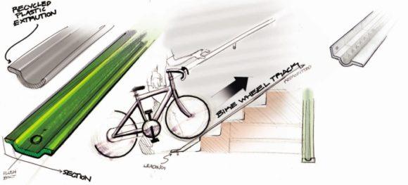 Fahrradfreundliche U-Bahn Station, U-Bahn, Fahrrad, Tune Koshy, Adair Heinz, Design, Chicago, Fahrradrinne, Schieberinne